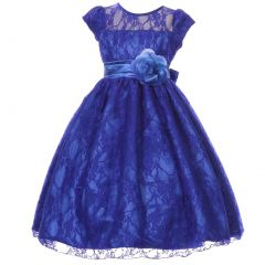 Big Girls Royal Blue Flower Sash Lace Overlay Special Occasion Dress 8-12