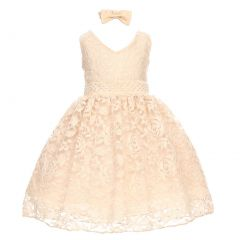 Baby Girls Champagne Rose Lace Overlay Beaded Waist Occasion Dress 3-24M
