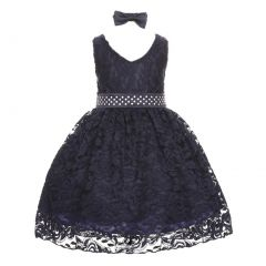 Little Girls Navy Rose Floral Lace Overlay Beaded Waist Occasion Dress 2-4T