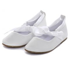 Kids Dream White Ballerina Ribbon Tie Rubber Sole Shoes Baby Girl 3-10