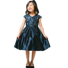 Sweet Kids Little Girls Navy Ribbon Sequin Embroidered Satin Christmas Dress 6