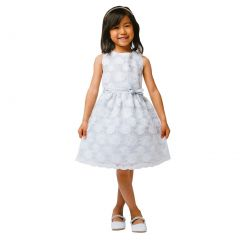 Sweet Kids Little Girls Grey Flower Embroidered Special Occasion Dress 2-6