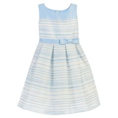 Sweet Kids Little Girls Light Blue Striped Woven Satin Easter Dress 2T-6