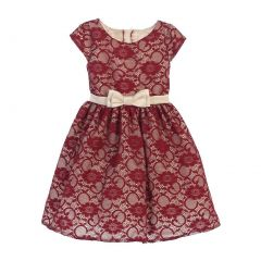 Sweet Kids Big Girls Burgundy Champagne Floral Lace Occasion Dress 7-12
