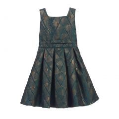 Sweet Kids Little Girls Emerald Gold Geometric Jacquard Occasion Dress 4-6