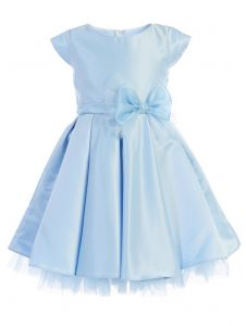 Sweet Kids Little Girls Light Blue Full Pleated Satin Bow Flower Girl Dress 4