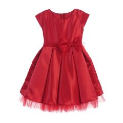 Sweet Kids Little Girls Red Satin Full Pleated Bow Accent Christmas Dress 2-6