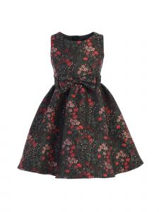 Sweet Kids Little Girls Pink Floral Jacquard Double Bow Christmas Dress 2-6