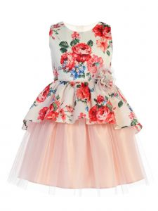 Sweet Kids Little Girls Off-White Floral Print Peplum Tulle Easter Dress 2-6