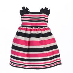 Sweet Kids Baby Girls Fuchsia Woven Striped Organza Special Occasion dress 6-24M
