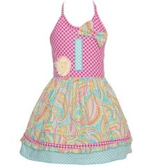 Sophias Style Exclusive Baby Girl Blue Paisley Halter Birthday Dress 12M-24M