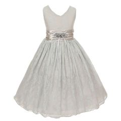 Big Girls Silver Flower Embellished Waistband Lace Flower Girl Dress 8-12