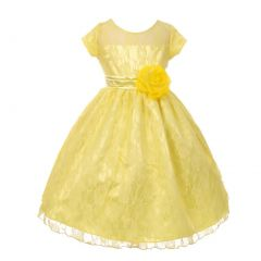Big Girls Yellow Lace Overlaid Short Sleeved Junior Bridesmaid Dress 8-18