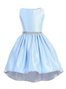 Sweet Kids Big Girls Light Blue Shiny Satin Hi-Low Special Occasion Dress 7-16