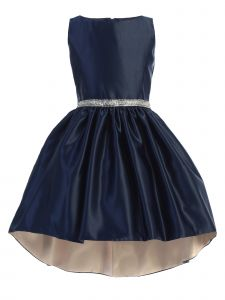 Sweet Kids Big Girls Navy Blue Shiny Satin Hi-Low Special Occasion Dress 7-16