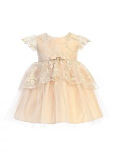 Sweet Kids Baby Girls Champagne Floral Lace Peplum Hi-Low Easter Dress 6-24M