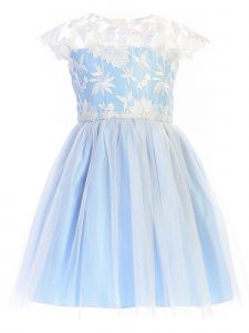 Sweet Kids Big Girls Blue Embroidered Lace Crystal Tulle Easter Dress 7-12