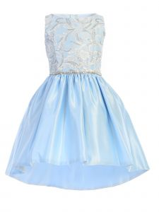 Sweet Kids Little Girls Blue Sequin Lace Hi-Low Satin Pockets Easter Dress 4-6