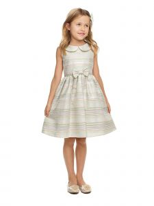 Sweet Kids Big Girls Mint Collar Metallic Stripe Jacquard Easter Dress 7-12