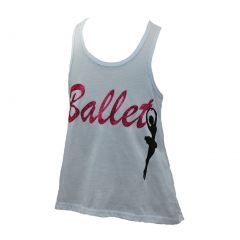 "Reflectionz Big Girls White Hot Pink ""Ballet"" Glitter Lace Tank Top 8-10"