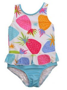 Baby Girls Multi Color Pineapple Ruffle Evrynn One Piece Swimsuit 12-24M