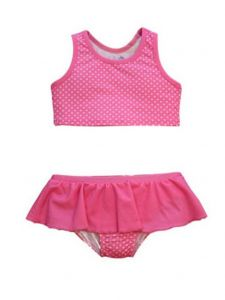 Baby Girls Pink Pinned Print Karina Ruffle Skirt 2 Pc Bikini Swimsuit 12-24M