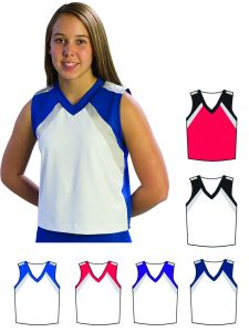 Pizzazz Girls Multi Color Premier Flare Uniform Shell Top Youth 2-16