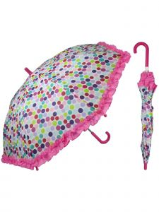 "Rainstoppers Girls Multi Color Bright Dot Print 32"" Arc Manual Open Umbrella"