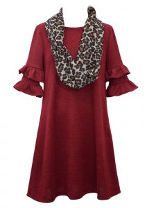 Bonnie Jean Little Girls Burgundy Double Ruffle Sleeve Hacci Knit Dress 4-6X