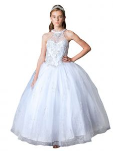 Girls Multi Color Glitter Lace Sleeveless Pageant Ball Gown 3-16