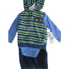 Buster Brown Baby Boys Blue Striped Hooded Vest Bodysuit 3 Pc Pants Set 0-9M