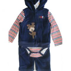 Buster Brown Baby Boys Blue Red Striped Hooded Vest Bodysuit 3 Pc Pants Set 0-9M