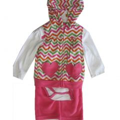 Buster Brown Baby Girls Pink White Bodysuit Stripe Vest 3 Pc Pants Set 12-24M