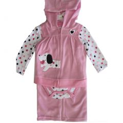 Buster Brown Baby Girls Pink Dot Bodysuit Dog Applique Vest 3 Pc Pant Set 12-24M