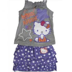 Hello Kitty Gray Purple Star Patterned Tiered 2 Pc Skirt Outfit 4-6X