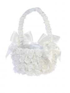 Tip Top Kids Girls White Flowers Covered Stylish Flower Girl Basket