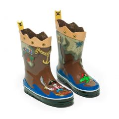 Kidorable Little Boys Brown Pirate Treasure Map Rubber Rain Boots 5-10 Toddler