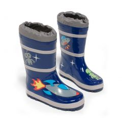 Kidorable Little Boys Blue Space Hero Print Rubber Rain Boots 5-10 Toddler