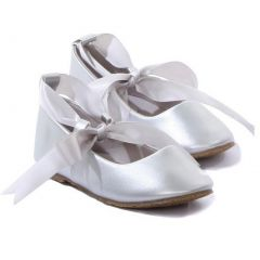 Kids Dream Silver Ballerina Ribbon Tie Rubber Shoe Baby Girl 3-10