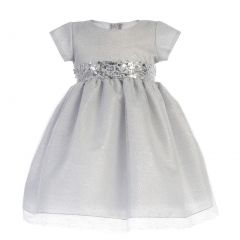 Girls Silver Shiny Mesh Sequined Waistband Christmas Dress 2T-7