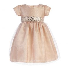 Girls Pink Champagne Shiny Mesh Sequined Waist Christmas Dress 2T-7