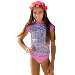 Sun Emporium Little Girls Milkshake Pink Short Sleeve Rash Guard Bikini Set 4
