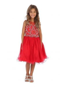 Angels Garment Girls Red Beaded Tulle Corset Back Party Dress 6-16