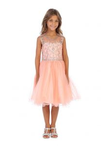 Angels Garment Girls Coral Beaded Ankle Length Special Occasion Dress 6-16