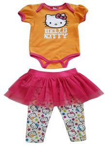 Hello Kitty Baby Girls Orange Pink 2pc Bodysuit Skirted Leggings 2pc Outfit 9M