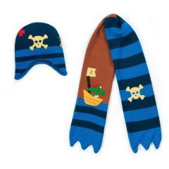 Kidorable Boys Blue Pirate Hat Scarf Handmade Lightweight Winter Set