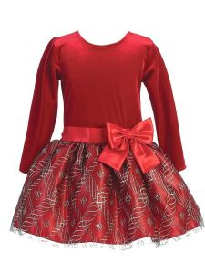 Lito Girls Velvet Sparkle Bow Long Sleeve Christmas Dress 2T-10