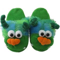 Kreative Unisex Little Kids Green Monster Shaped Plush Slippers 12 Kids