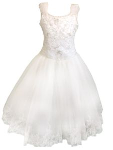 Christie Helene Little Girls White Organza Cap Sleeve Flower Girl Dress 5-6