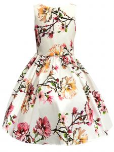 Petite Adele Little Girls Ivory Blush Floral Sleeveless Flower Girl Dress 2T-6